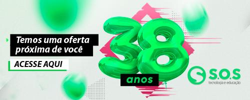 símbolo com o número 38 para enfatizar a  comemoração de aniversário da empresa SOS que está com uma oferta especial para você