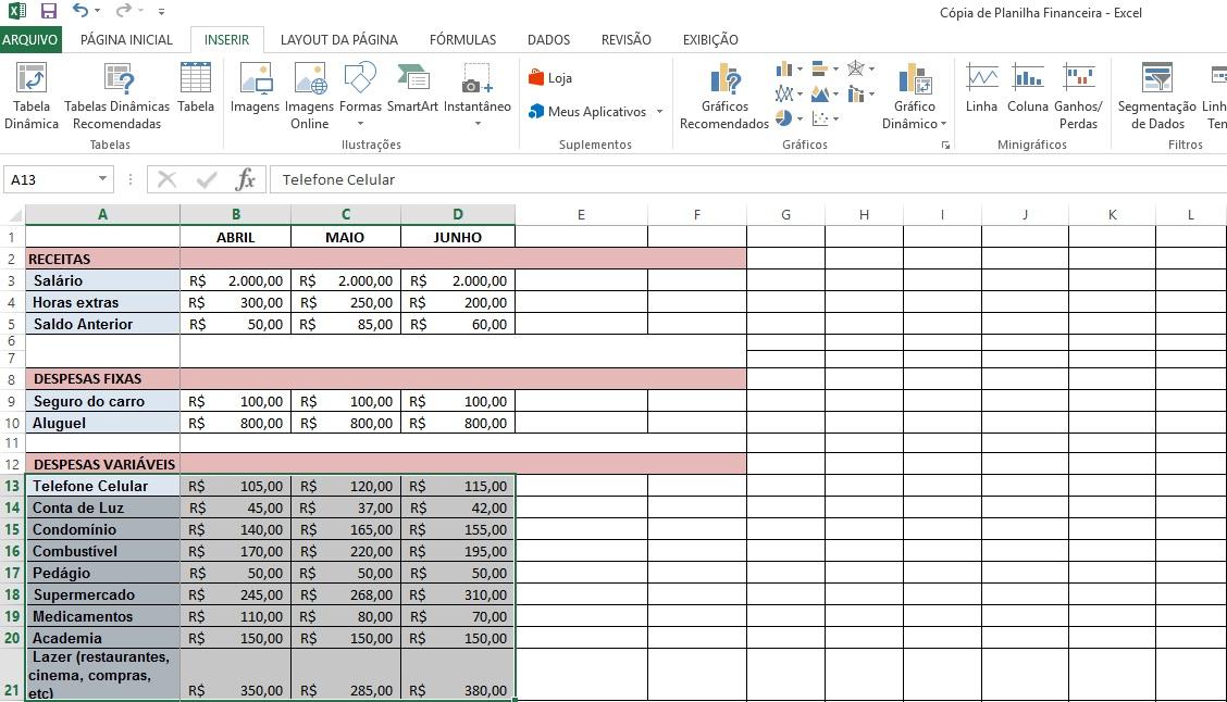 Como criar gráficos no Excel - Passo 2