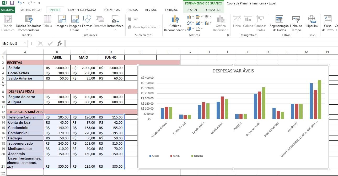 Como criar gráficos no Excel - Passo 4