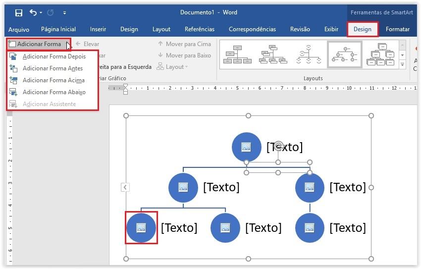 Como criar um organograma no Word - Passo 3