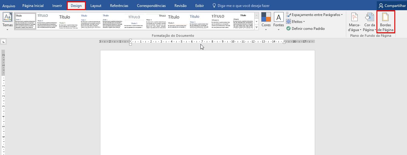 Como colocar bordas no Word - Passo 1