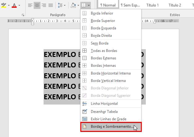 Como colocar bordas no Word - Passo 2