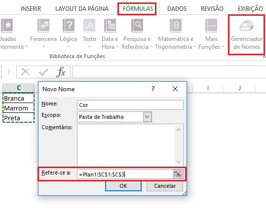 Passo 2 - Como fazer uma lista suspensa no Excel
