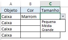 Passo 6 - Construindo lista suspensa Excel