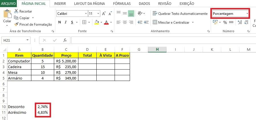Calcular porcentagem no Excel - Passo 1