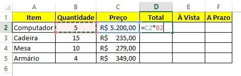 Calcular porcentagem no Excel - Passo 2